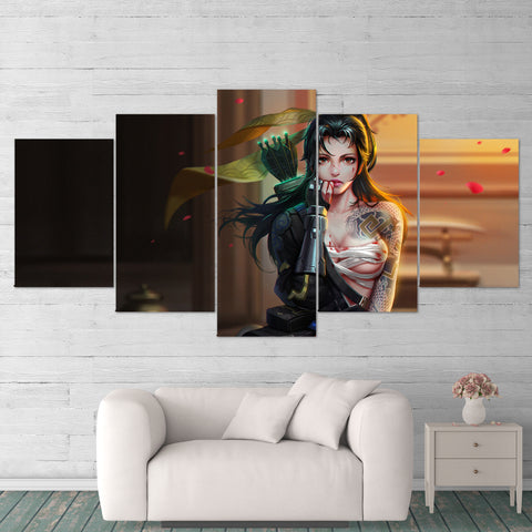 Overwatch 05 Hanzo Female 5 Piece Canvas Wall Art Gaming Canvas