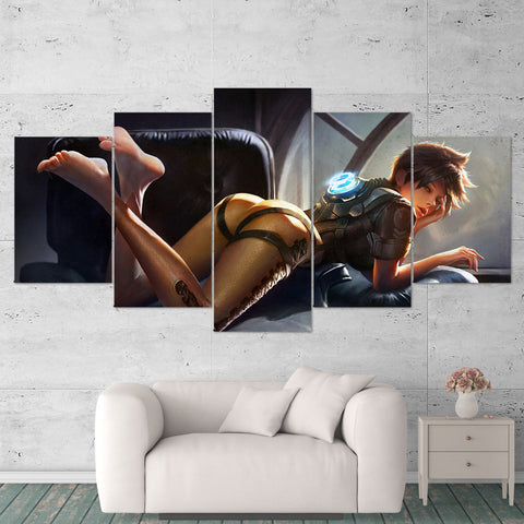Overwatch 08 Tracer 5 Piece Canvas Wall Art Gaming Canvas