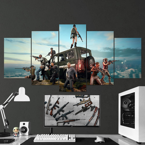 PUBG Player Unknown's Battlegrounds 07 - 5 Piece Canvas Wall Art Gaming Canvas