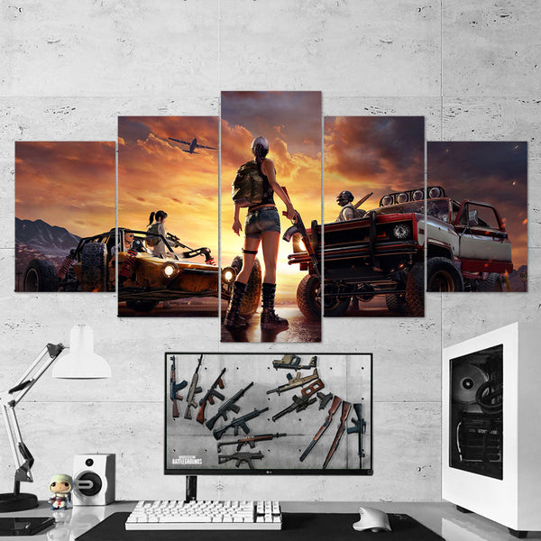 PUBG PlayerUnknown's Battlegrounds 24 - 5 Piece Canvas Wall Art Gaming Canvas