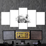 PUBG PlayerUnknown's Battlegrounds 46 Minimalist 5 Piece Canvas Wall Art Gaming Canvas