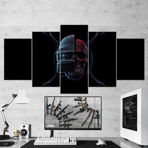PUBG 63 Playerunknowns Battlegrounds - Skull Helmet Pan - 5 Piece Canvas Wall Art Gaming Canvas