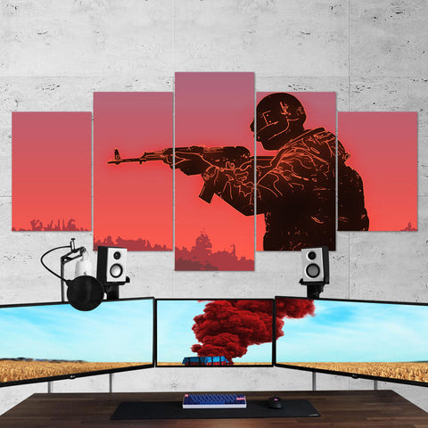 PUBG 64 Playerunknowns Battlegrounds Minimalist 5 Piece Canvas Wall Art Gaming Canvas