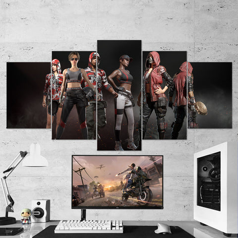 PUBG 68 Playerunknowns Battlegrounds - PGI Skins - 5 Piece Canvas Wall Art Gaming Canvas