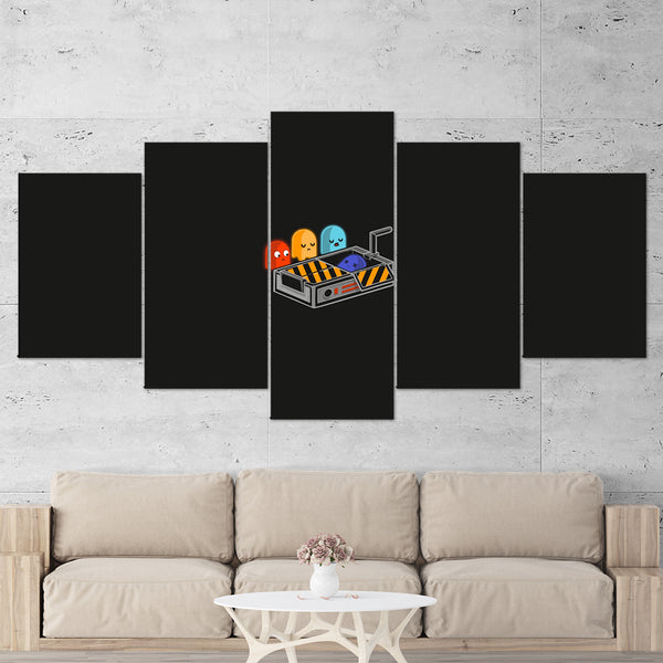 Pac Man 01 Ghostbuster Minimalist 5 Piece Canvas Wall Art Gaming Canvas