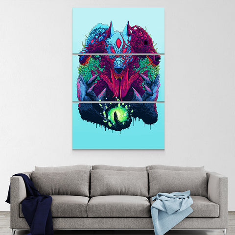 Psychedelic Canvas Wall Art 06 - Cosmic Monster Wolf