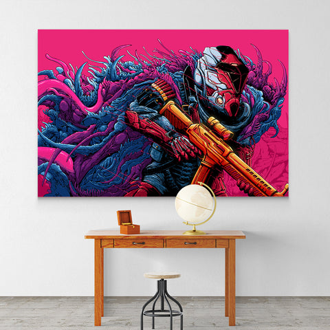 Psychedelic Canvas Wall Art 08 - Cosmic Monster Warrior - Abstract Canvas