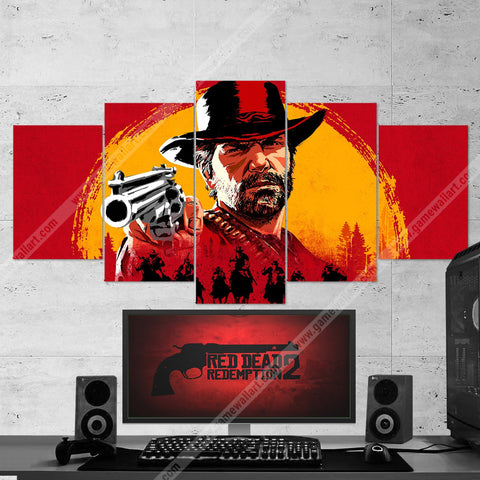 Red Dead Redemption 2  Arthur Morgan 5 Piece Canvas Wall Art Gaming Canvas 5PCRDR001