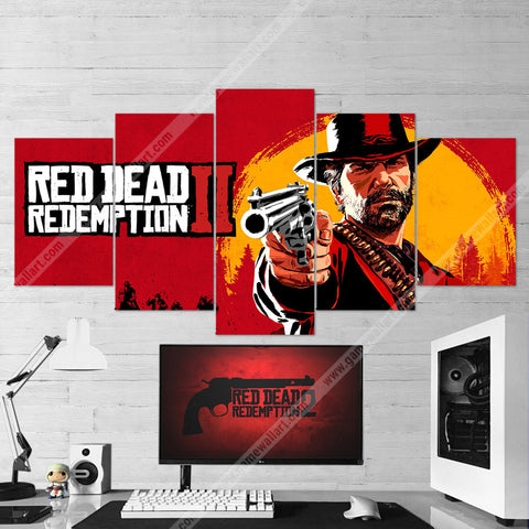 Red Dead Redemption 2 - Arthur Morgan Canvas 5 Piece Wall Art 5PCRDR002
