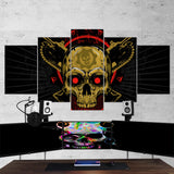 Skull 01 Art Work 5 Piece Canvas Wall Art Gaming Room Canvas