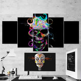 Skull 02 Abstract Art Work 5 Piece Canvas Wall Art Gaming Room Canvas