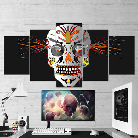 Skull 03 Skull And Gun Art Work 5 Piece Canvas Wall Art Gaming Room Canvas