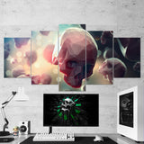 Skull 04 Abstract Minimalist Art Work 5 Piece Canvas Wall Art Gaming Room Canvas