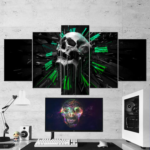 Skull 05 Time Abstract  Art Work 5 Piece Canvas Wall Art Gaming Room Canvas