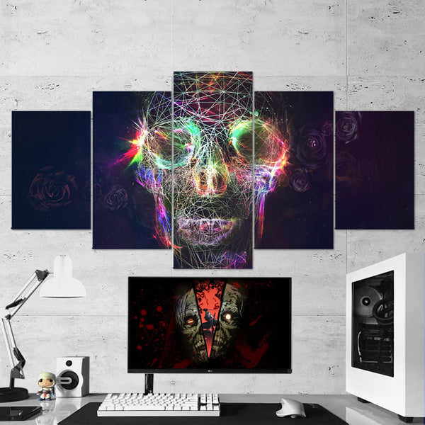 Skull 06 Abstract  Art Work 5 Piece Canvas Wall Art Gaming Room Canvas