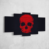 Skull 07 Minimalist  Art Work 5 Piece Canvas Wall Art Gaming Room Canvas