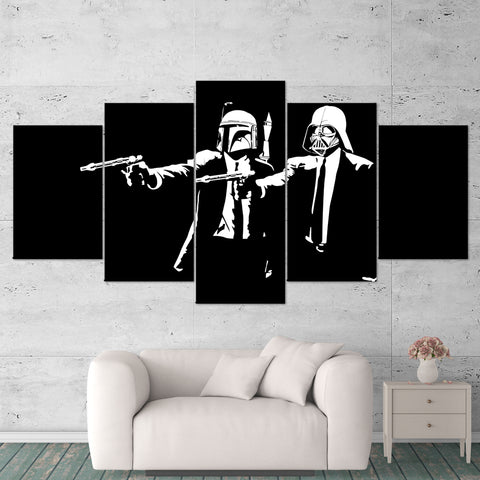 Star Wars Canvas Art - Pulp Fiction - Darth Vader - Boba Fett 5 Piece Canvas Wall Art Gaming Canvas