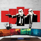 Star Wars 05 Pulp Fiction Parody - Star Wars - Stormtrooper 5 Piece Canvas Wall Art Gaming Room Canvas