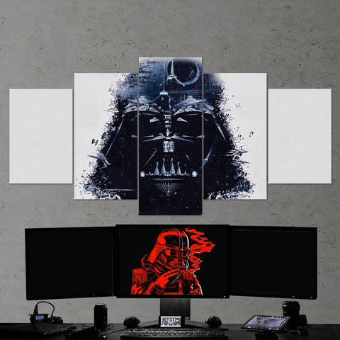 Star Wars 07 Darth Vader Abstract Illustration 5 Piece Canvas Wall Art Gaming Room Canvas
