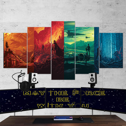 Star Wars Canvas Art - Force Awakens Art Work 5 Piece Canvas Wall Art Gaming Room Canvas