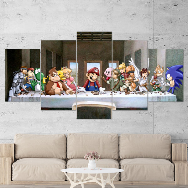 Super Mario Canvas - The Last Supper Of Arcade Games 5 Piece Canvas Wall Art Gaming Canvas