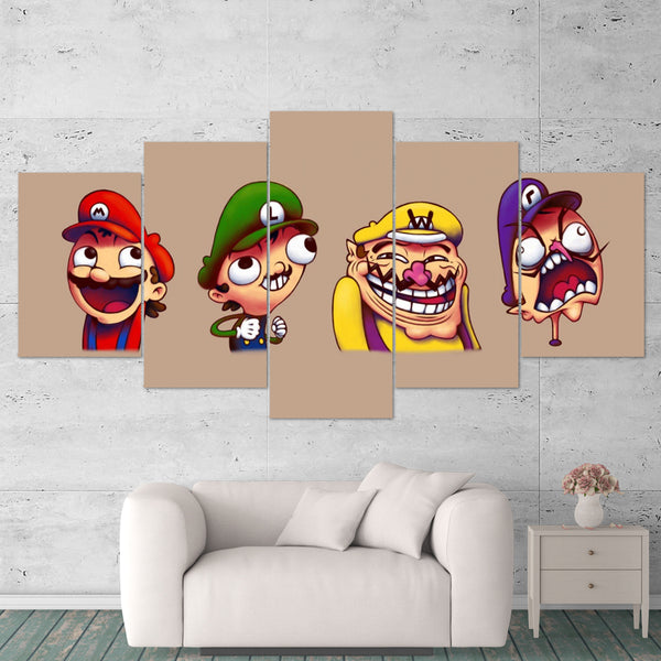 Super Mario 02 Luigi  5 Piece Canvas Wall Art Gaming Canvas