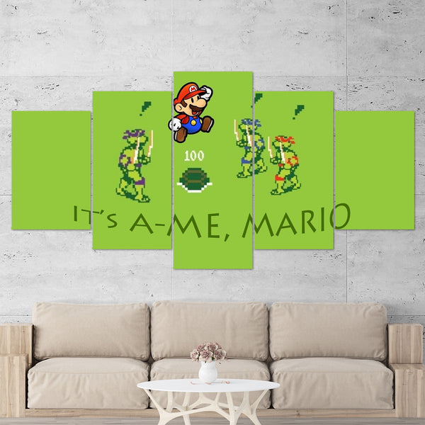 Super Mario 03 IT'S A-ME, MARIO 5 Piece Canvas Wall Art Gaming Canvas