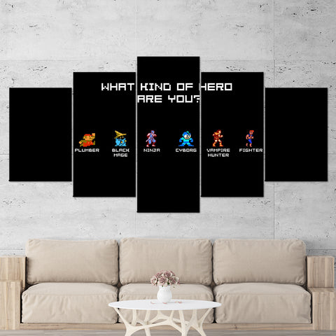 Super Mario 05 What Kind of Hero Are You 5 Piece Canvas Wall Art Gaming Canvas