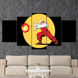 Super Mario 06 Mario The Street Fighter - Hadouken 5 Piece Canvas Wall Art Gaming Canvas