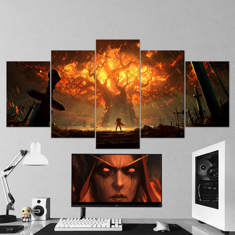 Teldrassil Burning - Sylvanas Canvas Wall Art - World of Warcraft