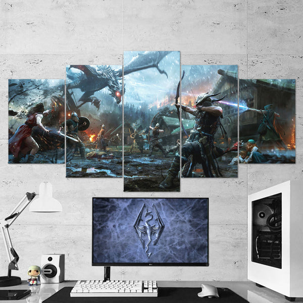 The Elder Scrolls 04 Legends Heroes of Skyrim 5 Piece Canvas Wall Art Gaming Canvas