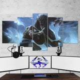 The Elder Scrolls 11 Skyrim Battle 5 Piece Canvas Wall Art Gaming Canvas