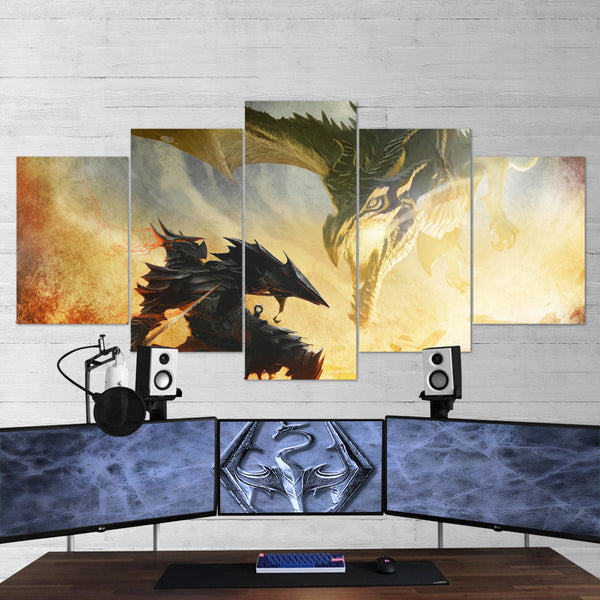 The Elder Scrolls 15 V Skyrim Artwork 5 Piece Canvas Wall Art Gaming Canvas