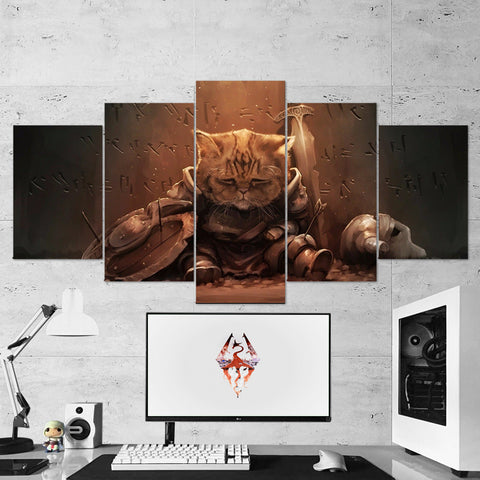 The Elder Scrolls 18 V Skyrim Cat Artwork 5 Piece Canvas Wall Art Gaming Canvas