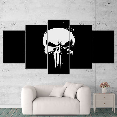 The Punisher 01 Logo 5 Piece Canvas Wall Art Gaming Canvas