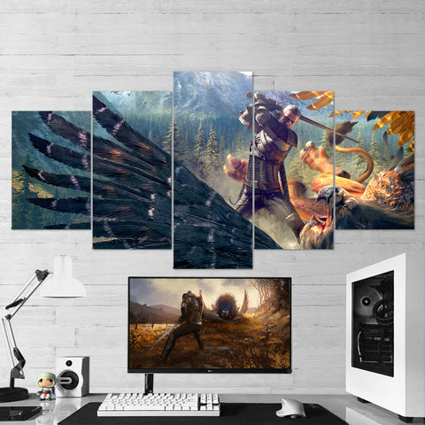 The Witcher 03 - 5 Piece Canvas Wall Art Gaming Canvas