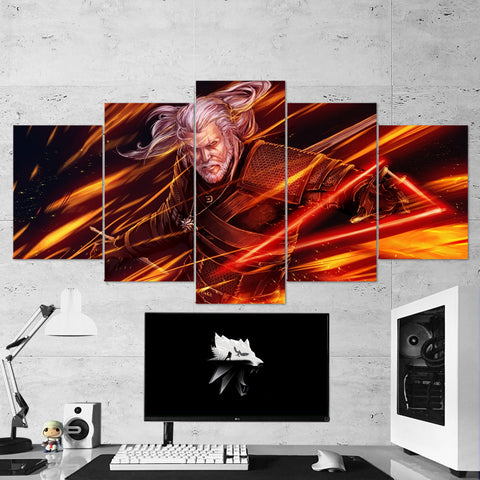 The Witcher 37 - 5 Piece Canvas Wall Art Gaming Canvas