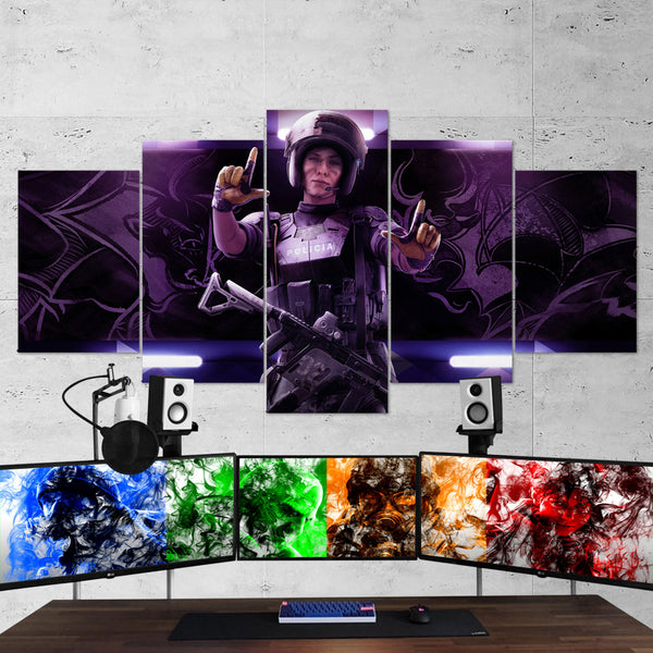 Tom Clancy's 09 Rainbow Six Siege Operator Mira 5 Piece Canvas Wall Art Gaming Canvas
