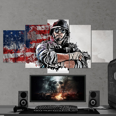 Tom Clancy's 10 Rainbow Six Siege Thermite 5 Piece Canvas Wall Art Gaming Canvas
