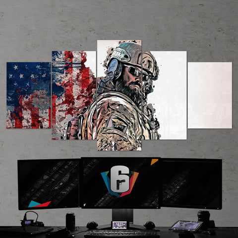 Tom Clancy's Rainbow Six Siege Blackbeard 11 - 5 Piece Canvas Wall Art Gaming Canvas