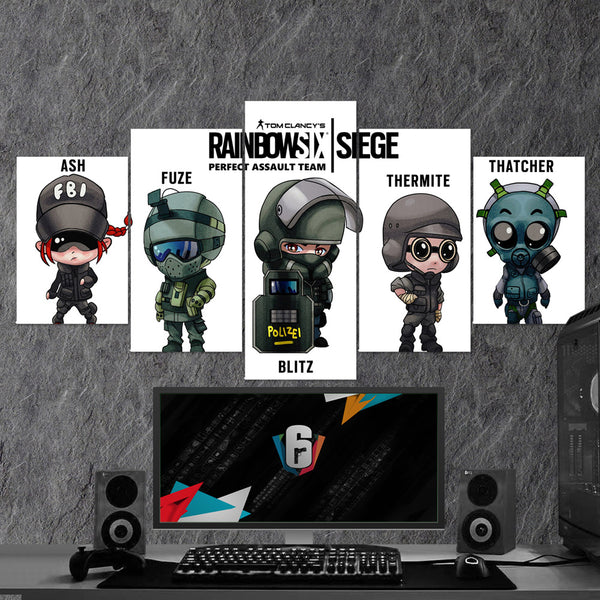Tom Clancy's Rainbow Six Siege 17 - 5 Piece Canvas Wall Art Gaming Canvas