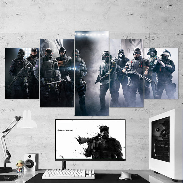Tom Clancy's Rainbow Six Siege Operators 19 - 5 Piece Canvas Wall Art Gaming Canvas