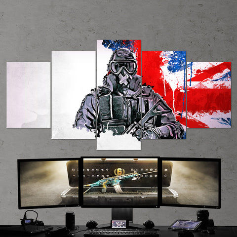 Tom Clancy's 40 Rainbow Six Siege Mute 5 Piece Canvas Wall Art Gaming Canvas