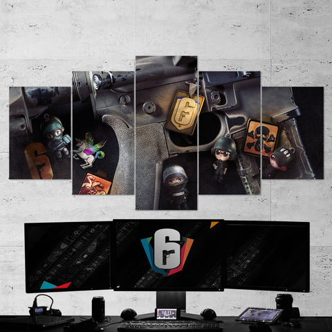 Tom Clancy's 44 Rainbow Six Siege Rifle 5 Piece Canvas Wall Art Gaming Canvas