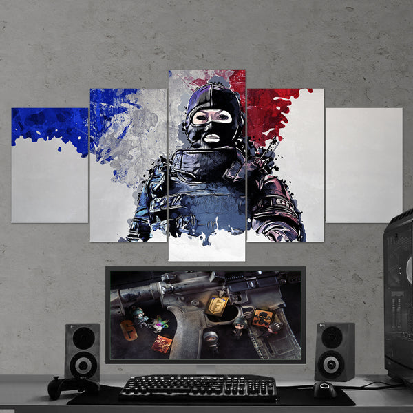 Tom Clancy's 46 Rainbow Six Siege Twitch 5 Piece Canvas Wall Art Gaming Canvas