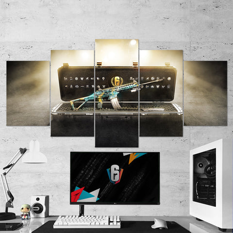 Tom Clancy's 47 Rainbow Six Siege Weapon 5 Piece Canvas Wall Art Gaming Canvas