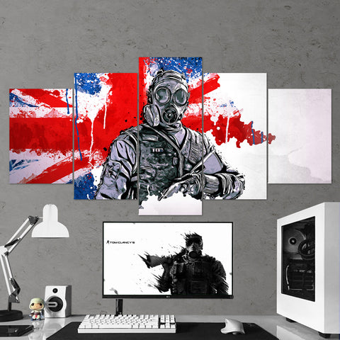 Tom Clancy's 48 Rainbow Six Siege Thatcher 5 Piece Canvas Wall Art Gaming Canvas