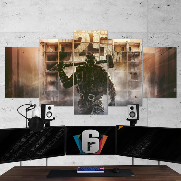 Tom Clancy's 49 Rainbow Six Siege Sledge 5 Piece Canvas Wall Art Gaming Canvas