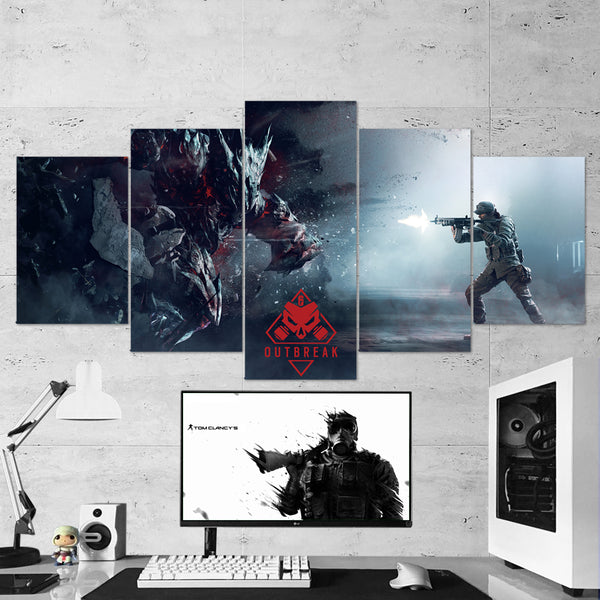Tom Clancy's 55 Rainbow  Six Siege Ash Operation Chimera Outbreak 5 Piece Canvas Wall Art Gaming Canvas
