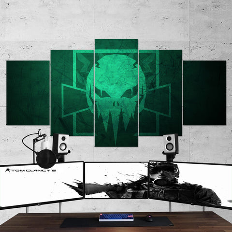 Tom Clancy's 56 Rainbow  Six Siege Skull Logo Minimalism Outbreak 5 Piece Canvas Wall Art Gaming Canvas